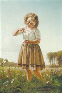 en lille pige med en sommerfugl by christian pram henningsen