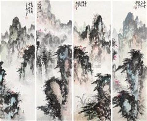 山水 in 4 parts by bai ding