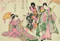 theatre play with the actors ichikawa danjûrô, sawamura gennosuke and sawamura tanosuke (+ 4 others; 5 works) (ôban, yoko-e) by utagawa toyokuni (toyokuni i)