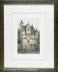 french chateaux (+ 4 others; group of 5) by victor jean baptiste petit