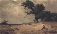 a little girl in a landscape by louis albert roessingh