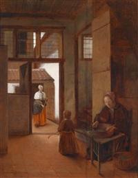 interieur mit einer frau und einem kind sowie einer magd, die einen hof fegt by pieter de hooch