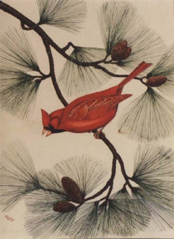 red cardinal in pine by anne worsham richardson
