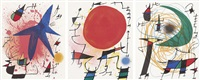 l'astre bleu - le soleil rouge - la lune verte. planche i, iii und v zu lithographe i. 3 blatt by joan miró