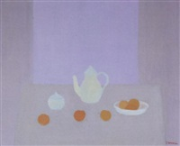 still life with fruit and a teapot by jan hoogsteyns
