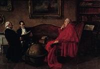 kardinal im lehnstuhl hört den ausführungen zweier herren zu by hans kratzer