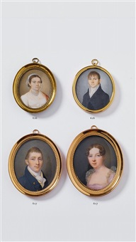 portraits of peter godeffroy t. y. and his wife (pair) by heinrich jakob aldenrath