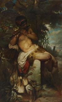flötespielender faun im baumschatten am ufer eines gewässers sitzend by albert freytag