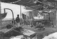 auf dem deck eines fransösischen sclachtschiffes by leon-antoine-lucien couturier