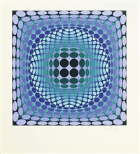composition cinétique en vert et violet by victor vasarely