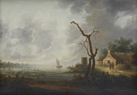 kustlandskap med figurer och båtar by jan josefsz van goyen