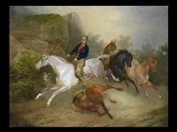 die aufgeschreckte pferdegruppe by joseph simon volmar