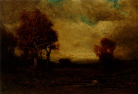 landscape with house in the distance by edward loyal field