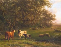 ein hirtenpaar mit kühen und schafen unter bäumen by jan bedijs tom