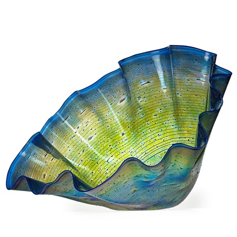 massive macchia bowl with blue lip wrap by dale chihuly
