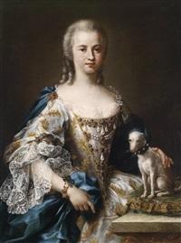 porträt einer dame mit ihrem schosshund by sebastiano ceccarini