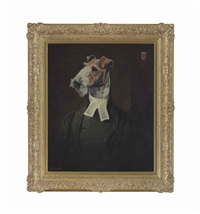 fox terrier in clerical dress by thierry poncelet