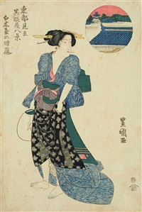 shirokiya no seian (from tôto mitate gofukuya hakkei) (ôban) by utagawa toyokuni (toyokuni i)