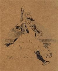 studies of cabaret dancers (for illustrations to les eccentricités de la dans) (5 works) by louis auguste mathieu legrand