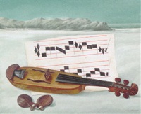 a violin and castanets on a beach by cornelius postma