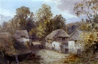 a devon village with a horse and cart and cattle in a landscape by alfred leyman