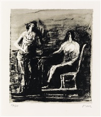 two figures at a table by henry moore