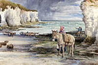 north landing flamborough, waiting for the late boat by walter henry pigott