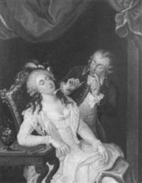 rokokokavalier neckt eine schlafende dame by philipp jakob wagner