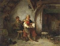 die fischerfamilie. der vater mit seinen zwei söhnen in der kate by willem linnig the elder