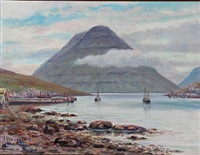 landscape from the faroe islands by joen waagstein