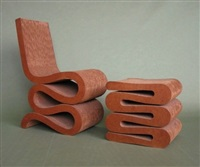 wiggle chair (+ stool; 2 works)(from the easy edges series) by frank gehry