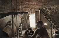 personnage africain dans une hutte by norman h. hardy