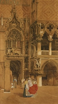 women outside san marco, venice by giuseppe vizzotto alberti