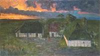 bauerngehöft bei sonnenuntergang by carl hessmert