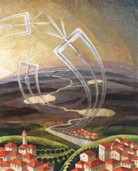 hilltop villages with aircraft performing acrobatics by gerardo dottori