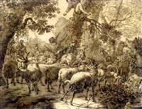herdsmen driving flocks through a forest by jacob van der does the elder