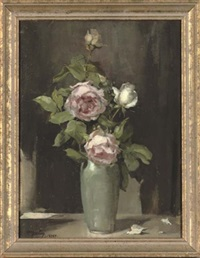 pink and white roses in a vase, on a table by alice mary burton