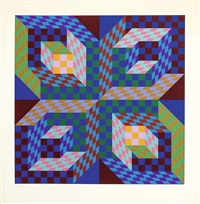 composition cinétique aux cubes multicolores by victor vasarely