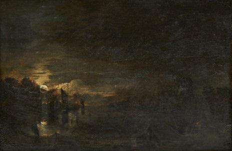 månbelyst kustlandskap med fiskare by aert van der neer