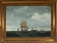 seascape with sailing ships and a paddle steamer by danish school (19)