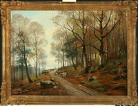 forest scenery with forest worker and cart by siegfried hass