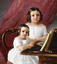 bildnis zweier mädchen, an einem tisch mit einem buch stehend by franz eybl