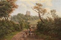 paysage avec bétail et personnages by f. cawthorne