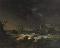schiffbruch vor nächtlicher meeresküste by x. laurent