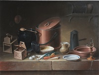 still life with kitchenware and vegetables by paul lelong