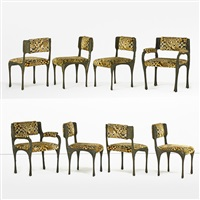 sculptured metal dining chairs (8 works) by paul evans