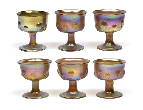 fußgläser set of 6 by louis comfort tiffany