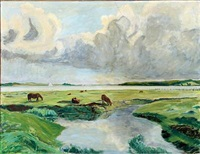 landscape with horses by lars swane