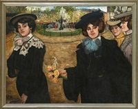 elegantly dressed women on a square by j. yamino