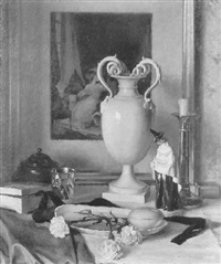 stilleben mit großer vase by paul walter ehrhardt